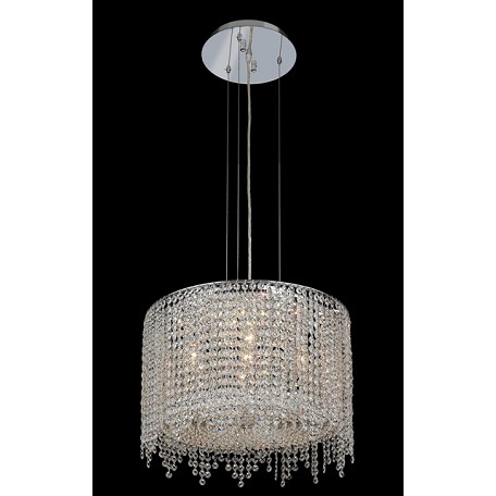 Krane Series 5-Light Chrome 18'' Round Pendant Chandelier with European, 30% Lead , or Colored 30% Lead Crystals SKU# 11279