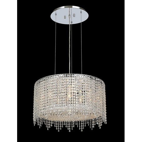 Krane Series 6-Light Chrome 22'' Round Pendant Chandelier with European, 30% Lead , or Colored 30% Lead Crystals SKU# 11280