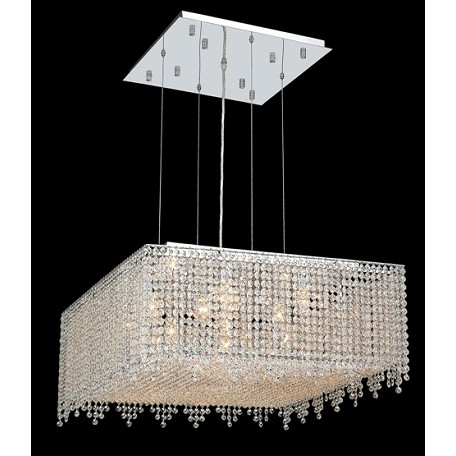 Krane Series 13-Light Chrome 26'' Square Box Pendant Chandelier with European, Swarovski, or Colored Crystals SKU# 11267