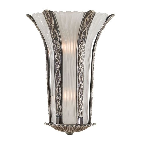 Minka Metropolitan Minka 2 Light Art Nouveau Inspired Wall Sconce In Platinum Finish With  Glass