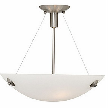 Access Three Light Wht  Glass Bs  Bowl Semi-Flush Mount