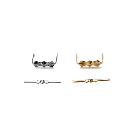 50 Pieces of Small or Large Crystal Prism Bow Tie Chrome or Gold Metal Connector Pins SKU# 11216