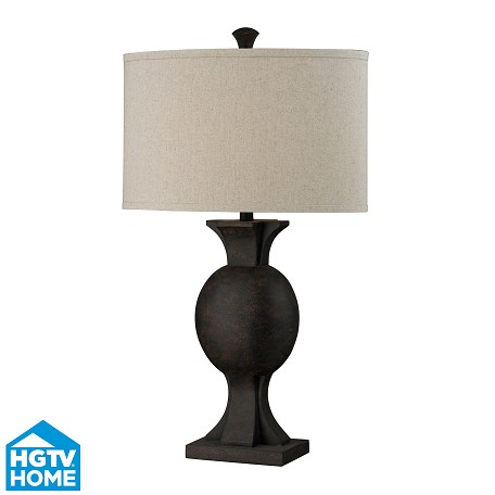 Dimond One Light Burnished Bronze Sand Linen Shade Table Lamp