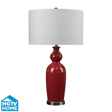 Dimond One Light Redbrushed Steel Pure White Faux Silk Shade Table Lamp
