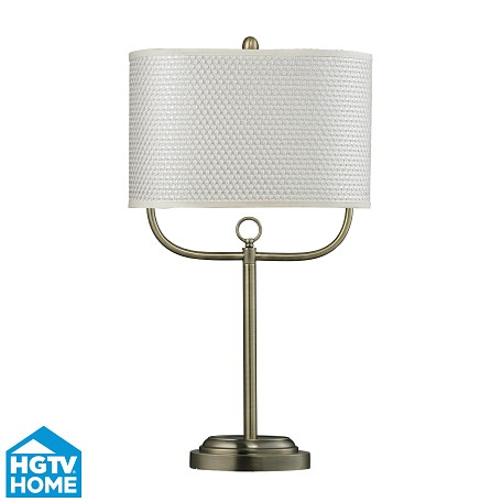 Dimond One Light Antique Brass White With Silver Weave Woven Fabric Shade Tab