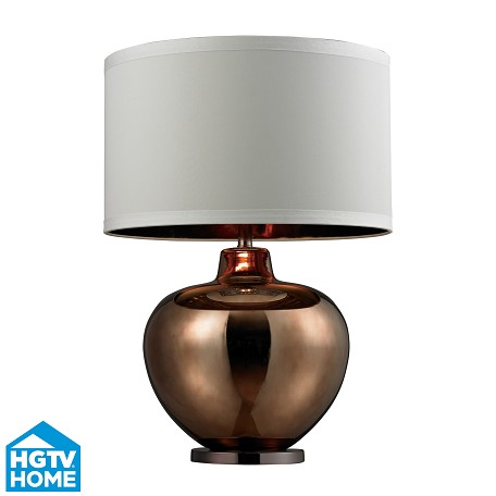 Dimond One Light Bronze Plated Glass With Coffee Plated Base  Table Lamp