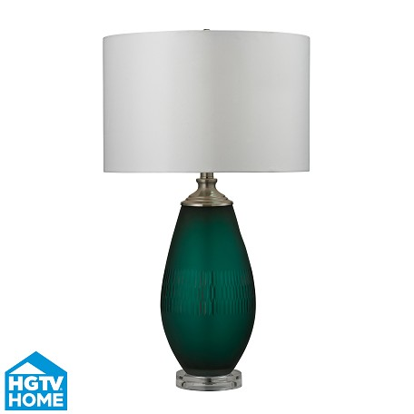 Dimond One Light Jade Green With Acrylic Base Pure White Faux Silk Shade Tabl