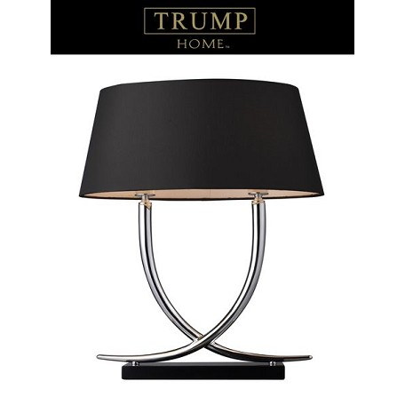 Dimond Two Light Chrome And Black Black/Taupe Line Faux Silk Shade Table Lam