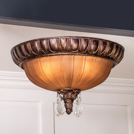 "Monaco Design 2-Light 17"" Aged Bronze Flush Mount with Tuscan Color Glass and a Crystal Accents SKU# 10915"