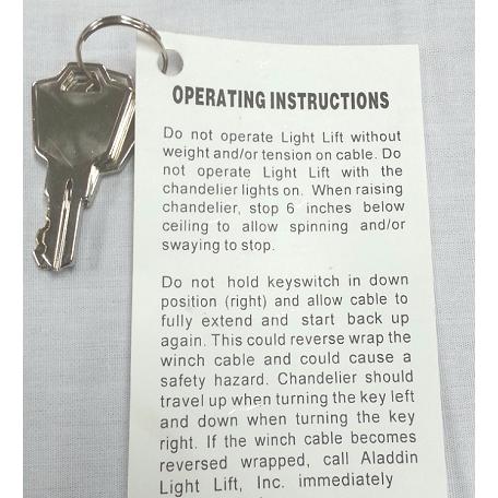 Aladdin light lift standard keyswitch replacement key sku 40831 mozeypictures Gallery