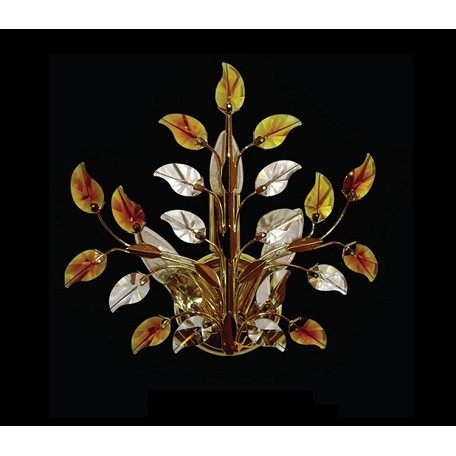 "Crystal Forest Design 3-Light 12"" Gold Crystal Wall Sconce with Clear, Pink or Amber Crystals SKU# 10770"
