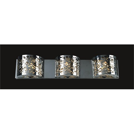 "Polished Chrome 3-Light 24"" Wall Sconce with Steel Shade and a choice of 30% Lead or Swarovski Spectra Crystal Strands SKU# 369455"