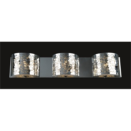 "Polished Chrome 3-Light 24"" Wall Sconce with Steel Shade and a choice of 30% Lead or Swarovski Spectra Crystal Strands SKU# 789651"