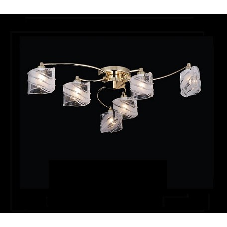 "IceBlox Design 6-Light 29"" Chrome or Gold Flush Mount with Frosted Glass SKU# 10778"