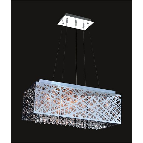 "Polished Chrome 9-Light 24"" Rectangular Pendant with Steel Shade and a choice of 30% Lead or Swarovski Spectra Crystal Strands SKU# 369456"