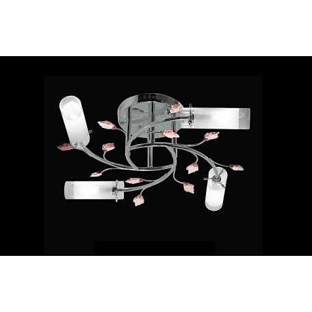 "Crystal Forest Design 4-Light 23"" Chrome or Gold Crystal Ceiling Mount Fixture with Pink or Amber Crystals SKU* 10942"