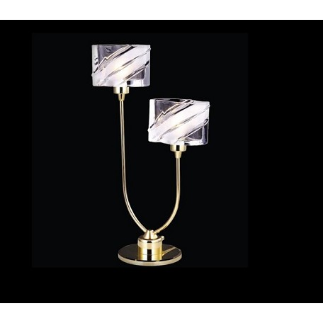 "IceBlox Design 2-Light 17"" Chrome or Gold Table Lamp with Frosted Glass SKU# 11192"