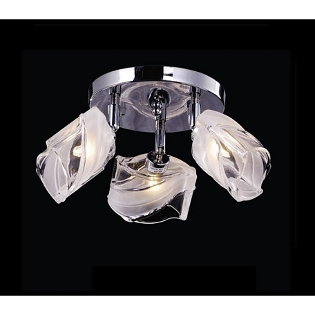 "IceBlox Design 3-Light 13"" Chrome or Gold Flush Mount with Frosted Glass SKU# 11200"