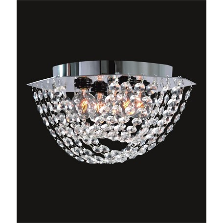 "Ring of Crystal Design 4-Light 9"" Chrome Flush Ceiling Mount with European or Swarovski Spectra Crystals SKU# 41048"