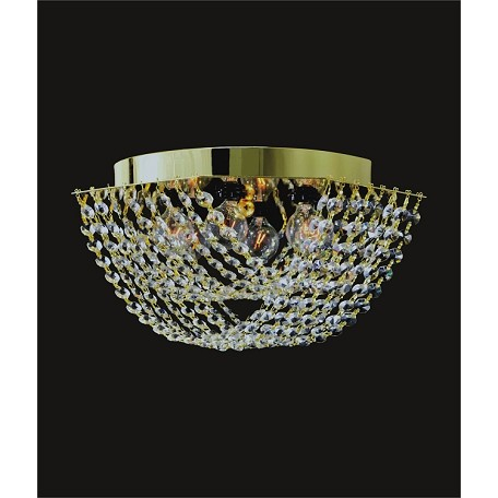 "Ring of Crystal Design 6-Light 12"" Chrome or Gold Flush Ceiling Mount with European or Swarovski Spectra Crystals SKU# 10809"