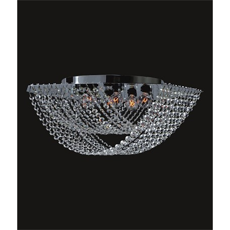 "Ring of Crystal Design 8-Light 18"" Chrome or Gold Flush Ceiling Mount with European or Swarovski Spectra Crystals SKU# 10810"
