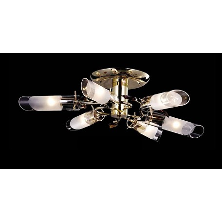 "Crystal Forest Design 6-Light 20"" Chrome or Gold Crystal Ceiling Mount Fixture with Blue or Amber Crystals SKU# 10941"