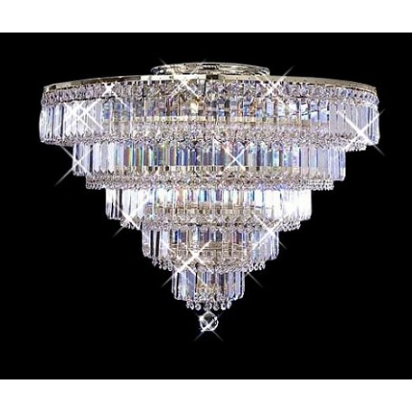 "Milan Design 16-Light 30"" Chrome or Gold Flush Mount Ceiling Fixture with 30% Lead Crystal SKU# 10967"