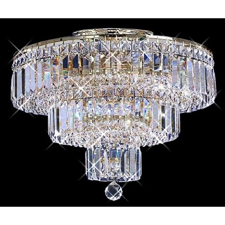 "Milan Design 9-Light 20"" Chrome or Gold Flush Mount Ceiling Fixture with 30% Lead Crystal SKU# 10968"