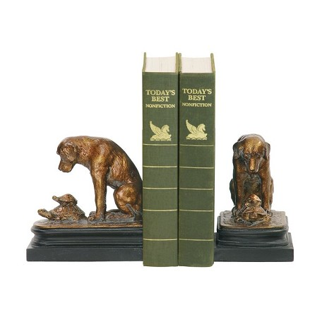 Sterling Industries Pair Turtle And Labrador Retriever Bookends