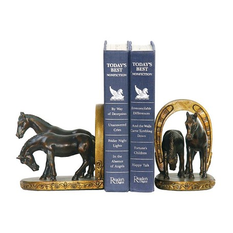 Sterling Industries Pair Horse And Horseshoe Bookends