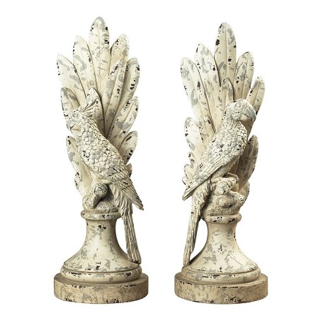 Sterling Industries Pair Of Distressed White Parrots