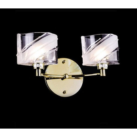 "IceBlox Design 2-Light 13"" Chrome or Gold Wall Sconce with Frosted Glass SKU# 11152"