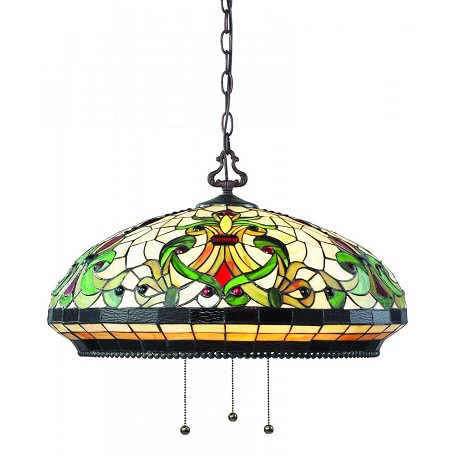 Z-Lite Three Light Chestnut Bronze Multi Color Tiffany Glass Down Pendant