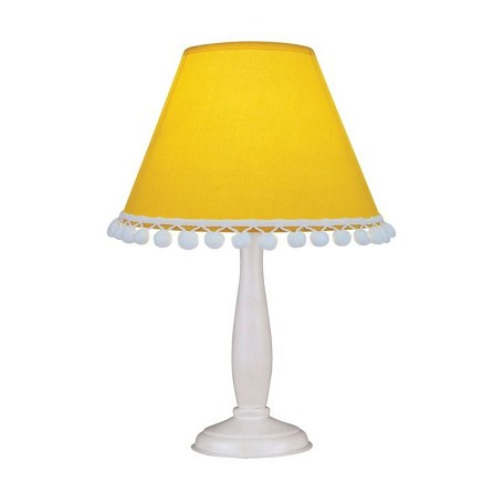 Lite Source Inc. Table Lamp - White Wood Body/L.Yellow Dot Shade E12 B 40W