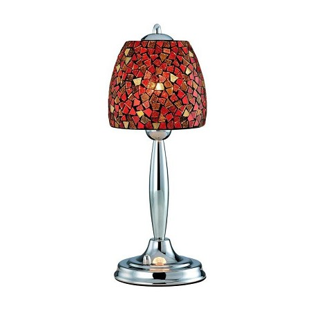 Lite Source Inc. Table Lamp Chrome/Red Mosaic Shade Type B 60W