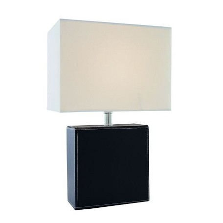 Lite Source Inc. Table Lamp Black Leather/Off-White Fabric Shd E27 Cfl 13W