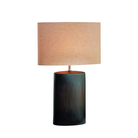 Lite Source Inc. Bronze 1 Light Ceramic Table Lamp With Tan Fabric Shade