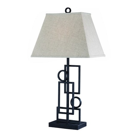 Lite Source Inc. Iron 1 Light Wrought Iron Table Lamp With Fabric Shade