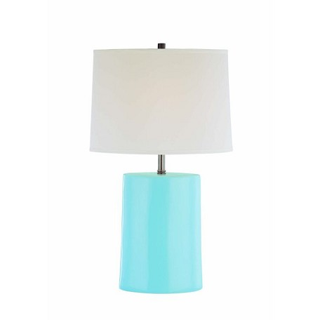 Lite Source Inc. Ceramic Table Lamp L.Blue/Wht Fabric Shade Type A 60W