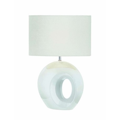 Lite Source Inc. Table Lamp White Ceramic Body/White Fabric E27  A 100W