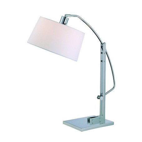 Lite Source Inc. Adjustable Table Lamp Chrome/White Fabric Shd E27 Cfl 13W