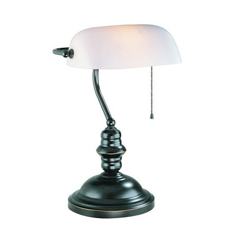 Lite Source Inc. Banker'S Lamp Dark Bronze With Frost Glass