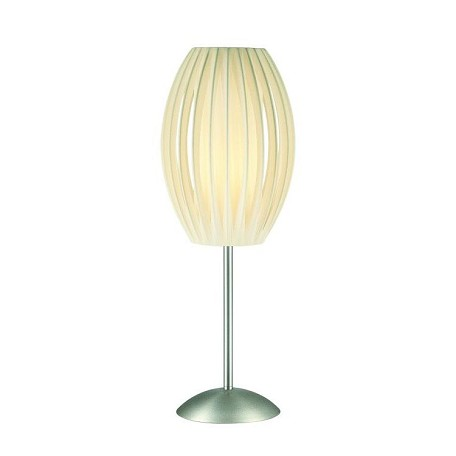 Lite Source Inc. Table Lamp Ss W/White Pleated Shade E27 Cfl 13W