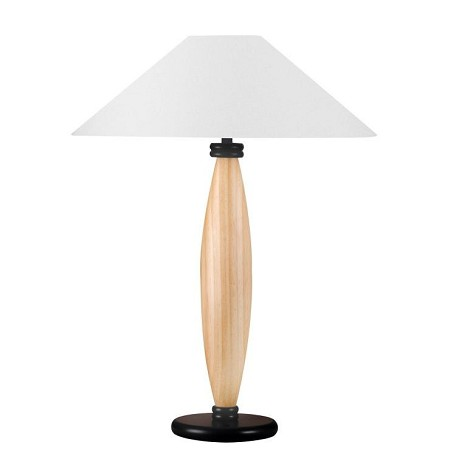 Lite Source Inc. Wood Table Lamp L. Natural W/Wht Fabric Shade 150W A Type