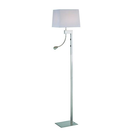 Lite Source Inc. Floor Lamp W/Reading Ps/White Fabric E27 Cfl 23W & Led 1W