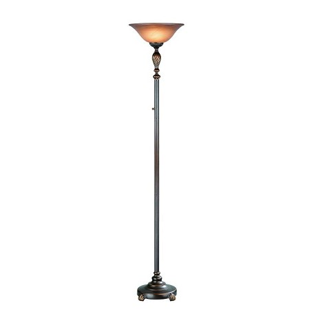 Lite Source Inc. Torchiere Lamp D/Brz W/Amber Glass Shade A Type 150W